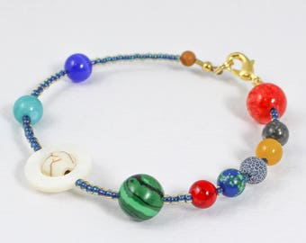 Planet Bracelet, Solar System Bracelet, Outer Space Jewelry, Universe Jewelry, Astrology Jewelry, Astronomy Jewelry, Astronaut Gift, Science