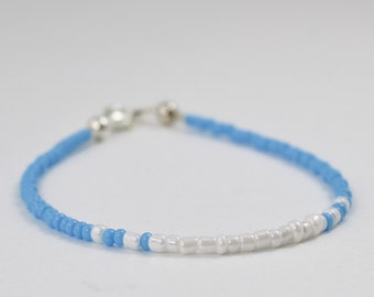 Sky Blue Seed Bead Bracelet, Stacking Bracelet, Friendship Bracelet, Dainty Bracelet, Minimalist Bracelet, Delicate Jewelry, Carolina Blue
