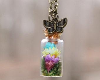 Dried Flower Vial Necklace, Terrarium Vial Necklace, Moss Vial Necklace, Woodland Vial Necklace, Terrarium Jewelry, Dried Flower Jewelry