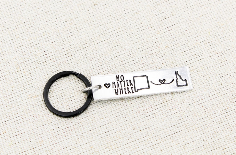 Friendship Key Ring Distance Couple Gift Boyfriend Gift Long Distance Keyring No Matter Where Distance Keychain State Key Chain