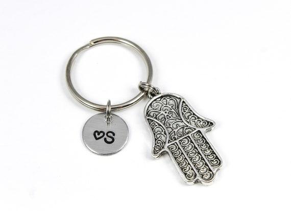 Hamsa Hand Keychain Hand Of Fatima Keychain Protection Etsy
