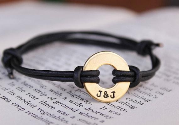 Custom Washer Bracelet Couples Bracelet Personalized Etsy