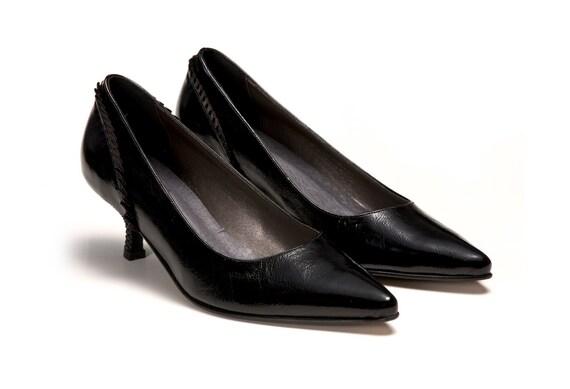 ... e1c00 1801f Women Leather Shoes Petite Black Patent Pumps Low Kitten  Hee good quality ... da4566570ee9