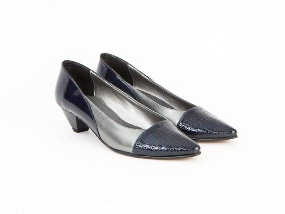 Paprika Womens Leather Shoes Pumps Blue Silver Croc Skin Low Heel Dress Pointed Toe Unique Comfortable Size 1 2 3 4 5 6 7 8 9 10 11 12 34 35