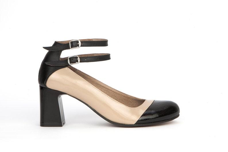 631eef4b61b0e8 Tito Womens schwarz braun Leder Pumpen klobige Heels Knöchel