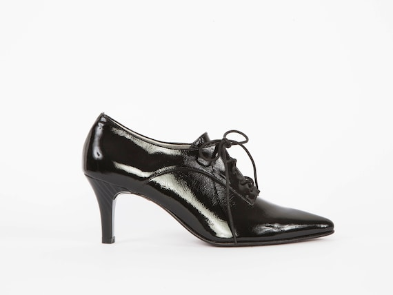 Walter Womens Lederschuhe schwarze Lack High Heel Oxford schwarz Schnüren binden Booties Pumps elegante Laceup Stiletto Brogues Kleid Schuhe