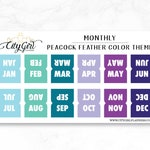 Mini Planner Tabs 12 Monthly - laminated self-adhesive - Peacock Feather color theme