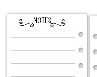 """Printed Personal Rings Notes planner insert - 15 Double-Sided sheets - fits lv mm agenda, 3.74"""" x 6.73"""""""