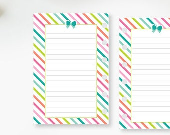 Pocket Lined Rainbow Stripe Bow planner printed insert - line refill - lines - lined planner page - colorful