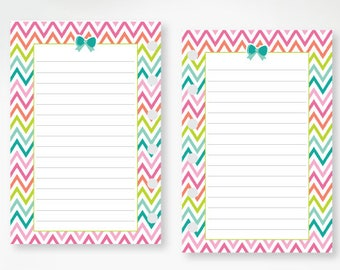 Pocket Lined Rainbow Chevron Bow planner printed insert - line refill - lines - lined planner page - colorful