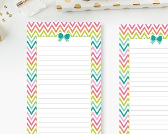Personal Lined Rainbow Chevron Bow planner printed insert - line refill - lines - lined planner page - Personal or Personal Wide - colorful