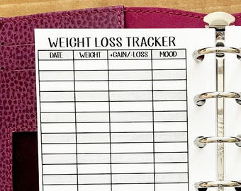 Pocket Weight Loss Tracker printed planner insert - weight tracking - fitness goals - daily weigh in