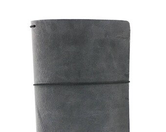 Gray Leather Travelers Cover - Yanasa Collection - Charcoal - Notebook - Two-Tone Pull-Up - Full Grain - Journal - Water Buffalo - Grey