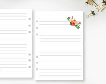 A5 Flower Lined planner printed insert - line paper - lines - Filofax insert - lined planner page