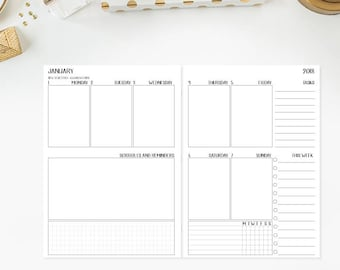 B6 2018 Weekly Vertical Traveler's Notebook Insert refill - 1 box per day - week on two pages - habit tracker - this week - tasks - Wo2P