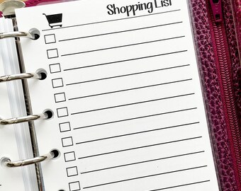 Pocket Shopping List printed planner insert - grocery list - shop list - to buy list - gift giving tracker