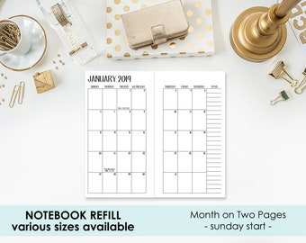 2019 Monthly Traveler's Notebook Insert – Mo2P - Month on 2 Page - 12 month calendar - various sizes - see pictures for sizing