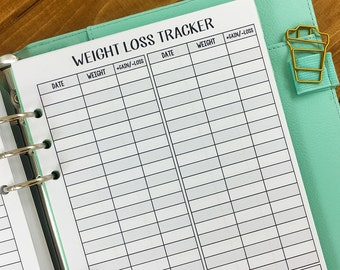 A5 Weight Loss Tracker printed planner insert - weight tracking - fitness goals - daily weigh in