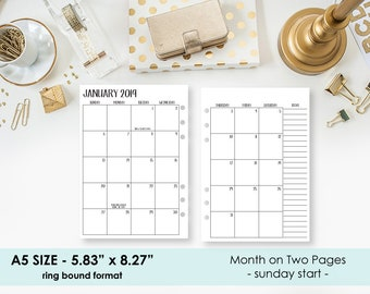 A5 2019 Monthly printed planner calendar - Sunday start - Mo2P - month on 2 page - monthly calendar