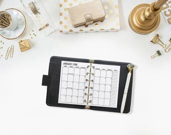 Pocket 2018 Monthly printed planner calendar - Mo2P - month on 2 page - monthly calendar