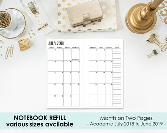 Academic 2018-2019 Monthly Traveler's Notebook Insert – B6 or A5 size - Month on 2 Page - Mo2P - school year calendar