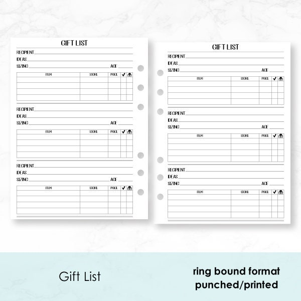 B6 Rings Gift List PRINTED insert - 30 Double-Sided sheets - Clothing Size  Tracker - Shopping - Holiday Gifts - Birthday - present ideas
