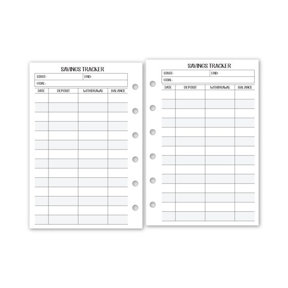 A5 size Savings Tracker Planner insert fits six-ring binders 15 Double-Sided sheets