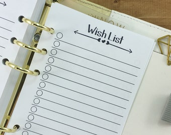 Personal Wish List printed planner insert - checklist - lined paper - college ruled - Personal Wide