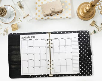 A5 2018 Monthly printed planner calendar - Mo2P - month on 2 page - monthly calendar