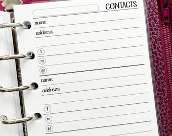 Pocket Contacts printed planner insert refills - address book - phone number keeper