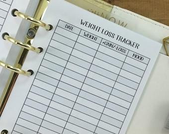 Personal Weight Loss Tracker printed planner insert - weight tracking - fitness goals - daily weigh in - Personal Wide