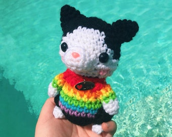 Ready to Ship - Rainbow Black and White Cat - Crocheted Cat - Cat Toy - LGBT Pride Gift - Pride Month - Cat Lover Gift- Cat Toy - Cat Doll