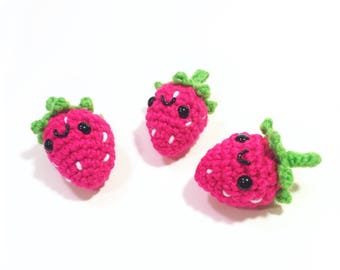 Strawberry Plush - Amigurumi Stawberry - Small Fruit Toy - Stuffed Strawberry - Hands On Learning - READY TO SHIP