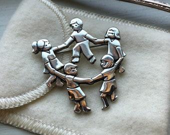 0ad36e2edca Retired James Avery Children Holding Hands Pin Sterling Silver Pre Loved