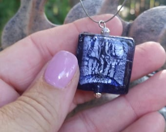 Purple Glass Pendant on Silver Wire Necklace Handmade