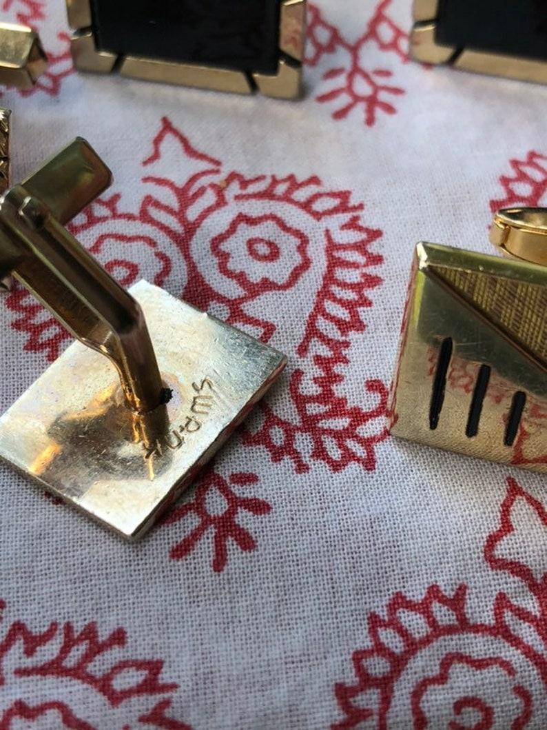 Trio of Gold Tone Vintage Cufflink One Marked Swank #swankcufflinks #vintagemenscufflinks