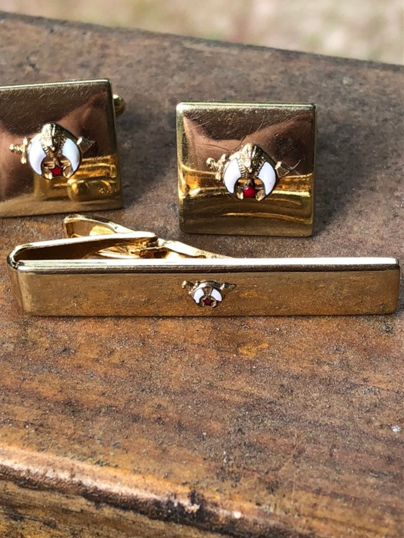 Vintage Speidel Gold Tone Cufflink and Tie Cliff Set with Enamel Accent Shiner Set