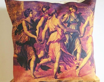 """Throw pillows """"Apollo dancing with the muses"""", painting printed on cotton canvas. Cushion covers, pillow covers, set of two pillow cases."""