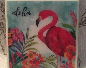 Decorative Coasters | Aloha Flamingo | Ceramic Tile | Gifts | Wedding Favors