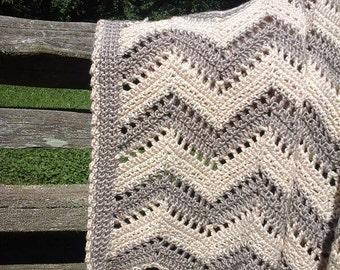 "60"" x 60"" grey/cream handmade crocheted chevron afghan"