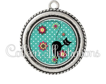 Pendant cabochons 25mm cat in the Meadow Flowers - series 4