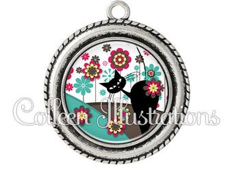 2 pendant cabochons 25mm cat in the Meadow Flowers - series