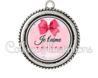 Pendant cabochons 25mm I love you - 8 series - Valentine's day