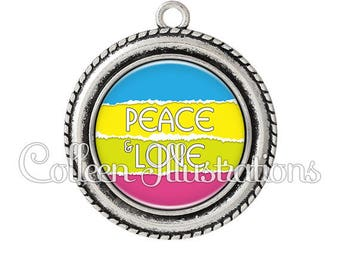 Pendant cabochons 25mm Peace and Love - series 2