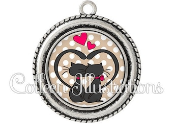 Pendant cabochons 25mm cats in love - 15 - Valentine's day series