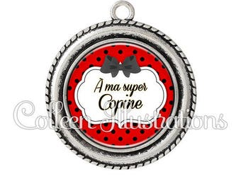Cabochon 25mm pendant has my best friend - 9 series