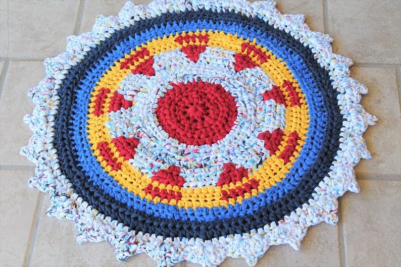Modern Crochet Round Rag Rug With A Beautiful Sunray Pattern Etsy