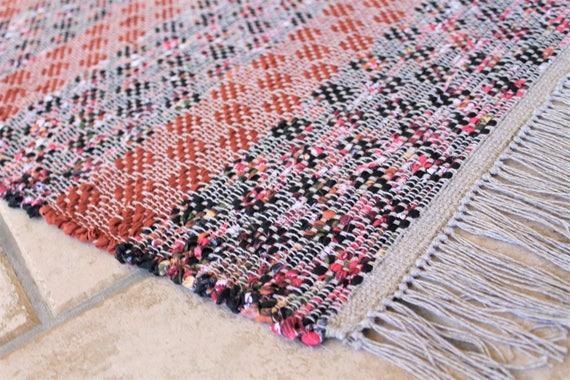 Rag Rug Vintage Modern Design Loom Woven Rag Rug Kitchen Etsy