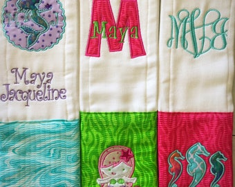 Girly Mermaid Personalized Burp Cloths. Embroidered name 3 peice set. Under the Sea