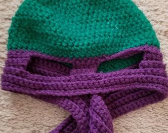 Crochet Ninja Hat--Purple!!  Handmade!!